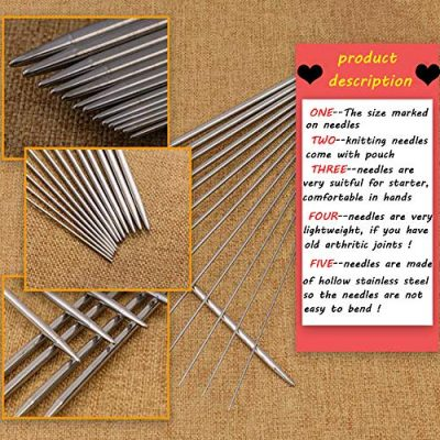 Knitting Needles Stainless Steel Single Pointed Knitting Needles Kit Set Tools Supplies in Case - image 61AaZcZE19L-400x400 on https://knitting-crocheting-yarn.com