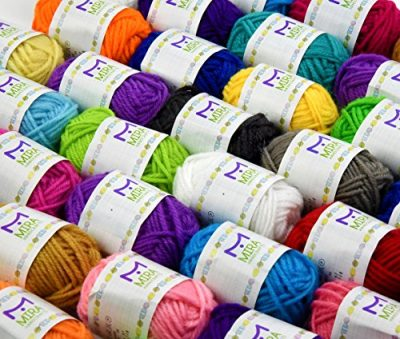Basic Miniature Yarn Pack – 40 Yarn Bonbon Skeins 100% Acrylic - Total of 875 yards (800 m) Colourful Yarn - Perfect for any Crochet and Knitting Mini Project - image 61BUwNy6n0L-400x339 on https://knitting-crocheting-yarn.com