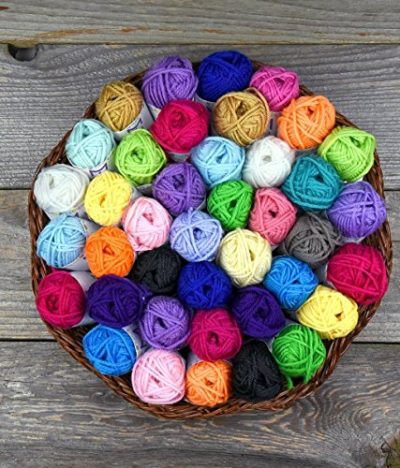 Basic Miniature Yarn Pack – 40 Yarn Bonbon Skeins 100% Acrylic - Total of 875 yards (800 m) Colourful Yarn - Perfect for any Crochet and Knitting Mini Project - image 61IOgFZhCCL-400x468 on https://knitting-crocheting-yarn.com