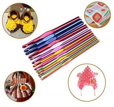 Luxbon-Pack Of 14 Sizes Multi coloured Aluminum Crochet Hooks Set Knitting Needles 2mm-10mm In a Plastic Partitioned Wallet/Case - image 61M9pPfe6eL-400x374 on https://knitting-crocheting-yarn.com