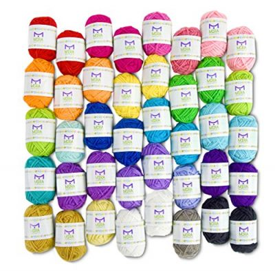 Basic Miniature Yarn Pack – 40 Yarn Bonbon Skeins 100% Acrylic - Total of 875 yards (800 m) Colourful Yarn - Perfect for any Crochet and Knitting Mini Project - image 61OaLywWjEL-400x394 on https://knitting-crocheting-yarn.com