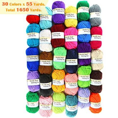 PP OPOUNT 30 Roll Acrylic Yarn Skeins, 1650 Yards Crochet Craft Yarn with Reusable Canvas Bag Includes 2 Crochet Hooks, 2 Pieces Weaving Needles, 3 Pieces Locking Stitch Markers for Crochet, Knitting - image 61XPS2el-DL-400x400 on https://knitting-crocheting-yarn.com