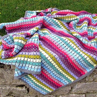 Vintage Rainbow Blanket Crochet Kit - the perfect gift for crochet lovers - everything you need to make this beautiful throw: yarn, crochet pattern, crochet hook, stitch markers and project bag - image 61Z-HKGYWrL-400x400 on https://knitting-crocheting-yarn.com