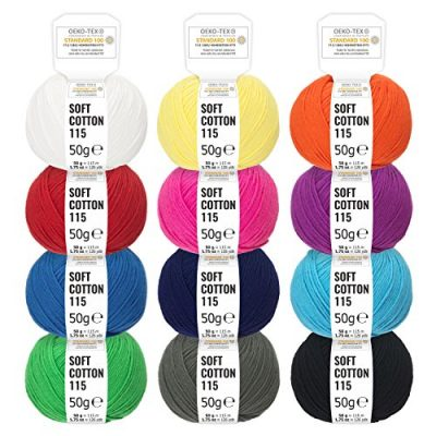100% Cotton Mixed Colours - 600g (12 x 50g) - Oeko Tex Standard 100 certified wool for knitting and crochet - cotton yarn set in 12 colours by Fairwool - image 61w9xY2UcPL-400x400 on https://knitting-crocheting-yarn.com