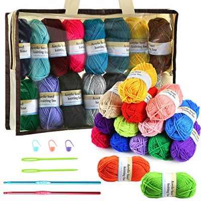 PP OPOUNT 30 Roll Acrylic Yarn Skeins, 1650 Yards Crochet Craft Yarn with Reusable Canvas Bag Includes 2 Crochet Hooks, 2 Pieces Weaving Needles, 3 Pieces Locking Stitch Markers for Crochet, Knitting - image 61wFBKKQ18L-400x400 on https://knitting-crocheting-yarn.com