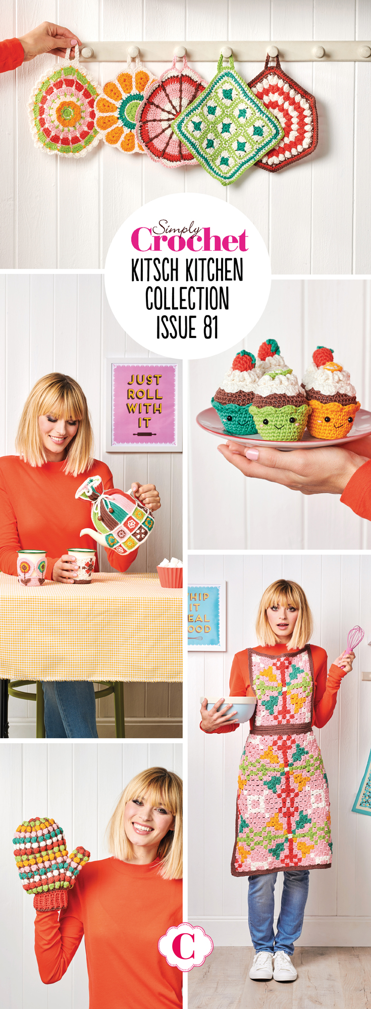 In issue 81 we're going all kitsch with our retro inspired Kitchen collection. There's six fab designs to choose from - apron, oven glove, pot holders, teapot cosy, cup sleeves and amigurumi cupcakes. All the designs are made in durable and strong Paintbox Yarns Cotton dk, so although they may look retro, they'll last for years and years to come!