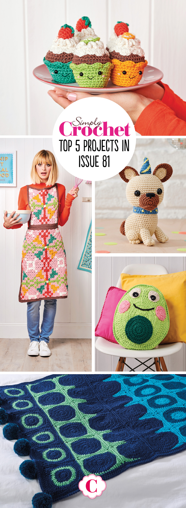 It's a hug in a mag this issue, with the best of the cosy and cute snuggled up inside. Get your yarn party started with our fun-loving amigurumi pug, surround yourself with friendly cakey faces, then crash out after-hours on our characterful avocado cushion. We're riding the retro vibe this issue with fun baking-themed makes. From apron to oven mitt, it's a timeless collection. You're sorted for Mother's Day gifts too, from a speedy hat to a star-bobble jumper and a soft cowl.