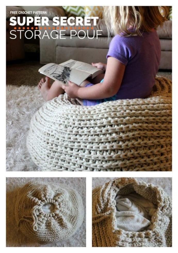 Top 10 crochet storage ideas with FREE patterns - image storage-pouffe on https://knitting-crocheting-yarn.com