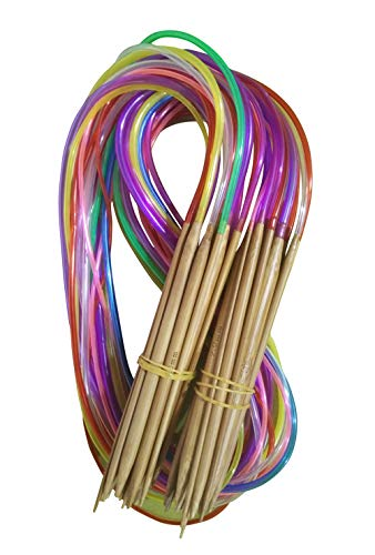 Tmade 18 Pairs 40cm Carbonized Bamboo Circular Knitting Needles 2.0mm to 10.0mm with Colorful Plastic Tube Yarn Weave Craft Knit kit - image 41aB7FShD+L on https://knitting-crocheting-yarn.com