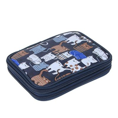 Teamoy Crochet Hook Case, Storage Bag for Various Crochet Hooks/Needles and Crochet Accessories, Zip up Case with Double Layer, Easy to Carry on, Cats Blue(No Accessories Included) - image 510Uz1oOboL-400x400 on https://knitting-crocheting-yarn.com