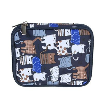 Teamoy Crochet Hook Case, Storage Bag for Various Crochet Hooks/Needles and Crochet Accessories, Zip up Case with Double Layer, Easy to Carry on, Cats Blue(No Accessories Included) - image 512b0HbAxRL-400x400 on https://knitting-crocheting-yarn.com
