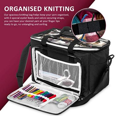 Hillington ® Knitting Storage Bag - Premium Heavy Duty Spacious Lightweight Nylon Carry All Tote Case for Holding and Organising Yarn, Wool, Needles, Crochet Hooks and Other Knitting Supplies - image 518OfkNnYJL-400x400 on https://knitting-crocheting-yarn.com