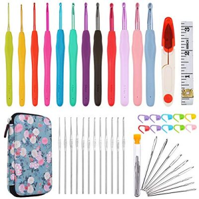 All-in-One Crochet Hooks Set Plus Large-Eye Blunt Needles Yarn Knitting with Case and More Accessories! Ergonomic Handle for Extreme Comfort. Ultimate Gift Set! - image 518rW2-YiCL-400x400 on https://knitting-crocheting-yarn.com