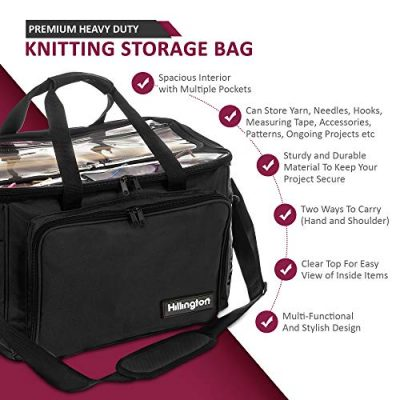 Hillington ® Knitting Storage Bag - Premium Heavy Duty Spacious Lightweight Nylon Carry All Tote Case for Holding and Organising Yarn, Wool, Needles, Crochet Hooks and Other Knitting Supplies - image 519lU5yE5QL-400x400 on https://knitting-crocheting-yarn.com