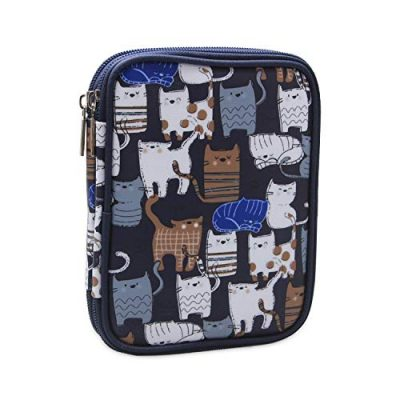 Teamoy Crochet Hook Case, Storage Bag for Various Crochet Hooks/Needles and Crochet Accessories, Zip up Case with Double Layer, Easy to Carry on, Cats Blue(No Accessories Included) - image 51G0CTKiclL-400x400 on https://knitting-crocheting-yarn.com