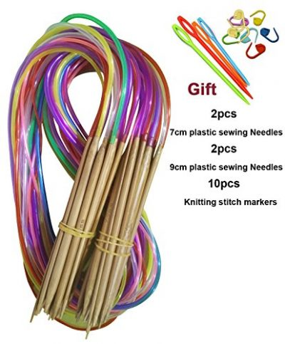 Tmade 18 Pairs 40cm Carbonized Bamboo Circular Knitting Needles 2.0mm to 10.0mm with Colorful Plastic Tube Yarn Weave Craft Knit kit - image 51G0UBaef8L-400x483 on https://knitting-crocheting-yarn.com