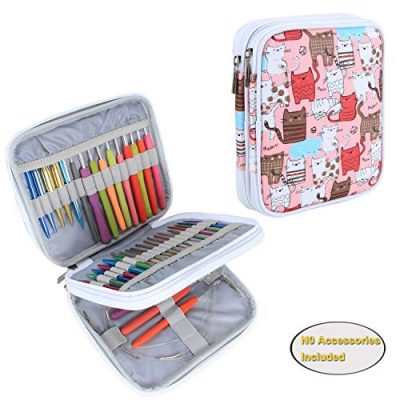 Teamoy Organiser Case for Interchangeable Circular Knitting Needles, Ergonomic Crochet hooks, Aluminum Crochet Hooks, Knitting Accessories and More-NO Accessories Included, Cats Pink - image 51GL02yyvcL-400x400 on https://knitting-crocheting-yarn.com
