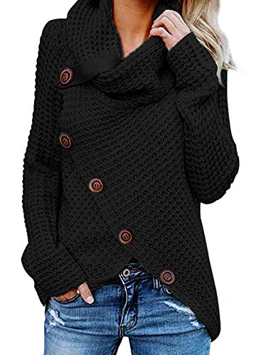 Aleumdr Womens Chunky Turtleneck Cowl Neck Asymmetric Hem Wrap Sweater Coat with Button Details - image 51JWV43YeRL on https://knitting-crocheting-yarn.com
