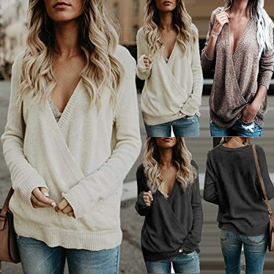LSAltd Women Sexy Solid Long Sleeve Cross Front Low-Cut V Neck Knitting Tops Loose Sweater Pullovers - image 51NsGCV5X8L-400x400 on https://knitting-crocheting-yarn.com