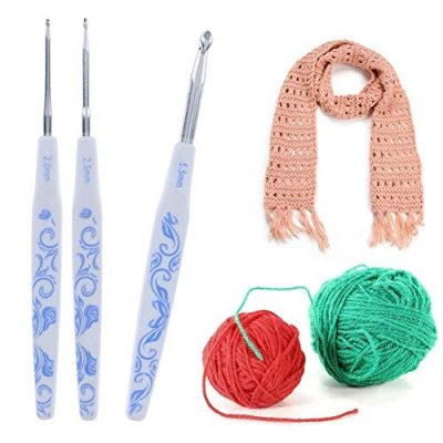 Demiawaking Crochet Hooks Set, 9Pcs Porcelain Pattern Aluminum Knitting Crochet Needles Kit Weave Tool Yarn Craft with Soft Long Grip 2.0mm - 6.0mm - image 51Qly2Y9BfL-400x400 on https://knitting-crocheting-yarn.com