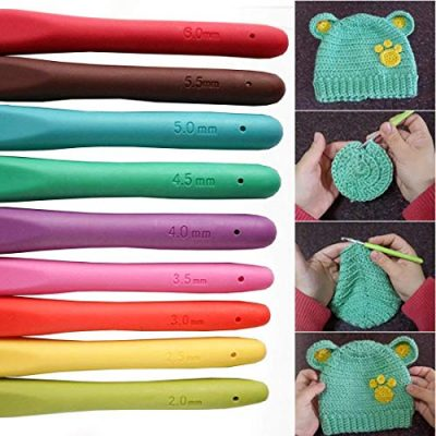 Crochet Hooks (9 Pcs) - Size 2mm to 6mm Aluminium Crochet Hook in Handy Case - Soft Rubber Comfortable Ergonomic Handle - Ideal for Crocheting and Knitting Craft Lovers of All Ages - image 51Sn5V5EJxL-400x400 on https://knitting-crocheting-yarn.com