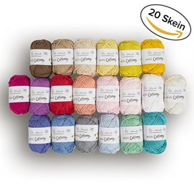 20 Skein%100 Cotton Mini Yarn, Total 17.6 Oz Each 0.88 Oz (25g) / 65 Yrds (60m), Light, Dk, Worsted Assorted Colors Yarn - image 51fGsQjhIWL-400x400 on https://knitting-crocheting-yarn.com