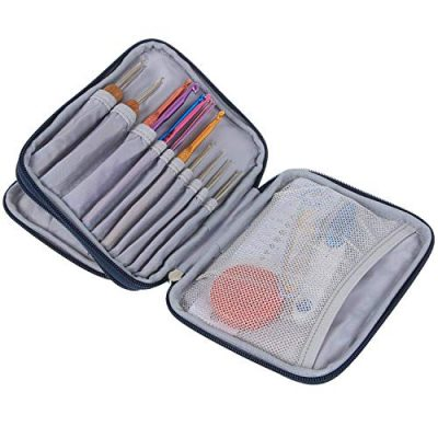Teamoy Crochet Hook Case, Storage Bag for Various Crochet Hooks/Needles and Crochet Accessories, Zip up Case with Double Layer, Easy to Carry on, Cats Blue(No Accessories Included) - image 51fd6mbyXLL-400x400 on https://knitting-crocheting-yarn.com