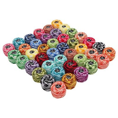 Crochet Thread 42 Pcs and 2 Crochet Hooks - 2 Shades Cotton Thread Balls Size of 8 Weights 5g & 1995 Yards in Total - Assorted Color Thread for Patterns, Knitting Projects and Needle Hand Embroidery - image 51jpNZF3poL-400x400 on https://knitting-crocheting-yarn.com