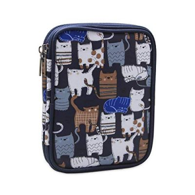 Teamoy Crochet Hook Case, Storage Bag for Various Crochet Hooks/Needles and Crochet Accessories, Zip up Case with Double Layer, Easy to Carry on, Cats Blue(No Accessories Included) - image 51kv+r2QL9L-400x400 on https://knitting-crocheting-yarn.com