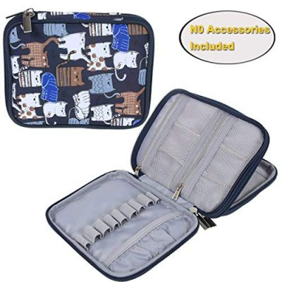 Teamoy Crochet Hook Case, Storage Bag for Various Crochet Hooks/Needles and Crochet Accessories, Zip up Case with Double Layer, Easy to Carry on, Cats Blue(No Accessories Included) - image 51rrTOi--8L-400x400 on https://knitting-crocheting-yarn.com