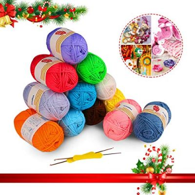 12PCS Knitting Yarn, Fixget 12x50g Super Soft Acrylic Yarn Skeins Set, Assorted Colors Crochet & Knitting Craft Yarn Kit, Bulk Yarn Crochet Kit,Bonus with 2 Crochet Hooks (1200M) - image 51v2Ssk968L-400x400 on https://knitting-crocheting-yarn.com