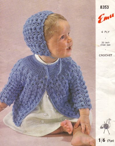 Emu Baby's Matinee Coat and Bonnet Crochet Knitting Pattern: To fit chest 20