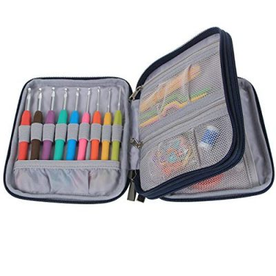 Teamoy Crochet Hook Case, Storage Bag for Various Crochet Hooks/Needles and Crochet Accessories, Zip up Case with Double Layer, Easy to Carry on, Cats Blue(No Accessories Included) - image 51xCNDzrHzL-400x400 on https://knitting-crocheting-yarn.com