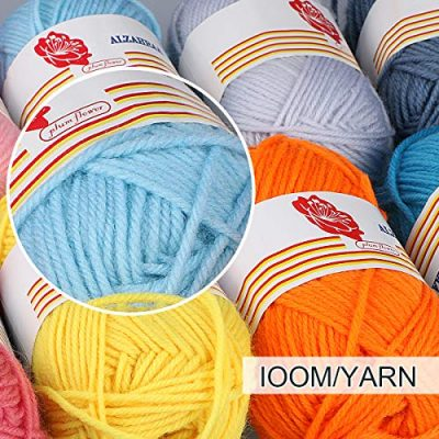 12PCS Knitting Yarn, Fixget 12x50g Super Soft Acrylic Yarn Skeins Set, Assorted Colors Crochet & Knitting Craft Yarn Kit, Bulk Yarn Crochet Kit,Bonus with 2 Crochet Hooks (1200M) - image 617M6bUm6xL-400x400 on https://knitting-crocheting-yarn.com