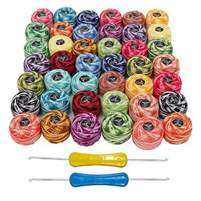 Crochet Thread 42 Pcs and 2 Crochet Hooks - 2 Shades Cotton Thread Balls Size of 8 Weights 5g & 1995 Yards in Total - Assorted Color Thread for Patterns, Knitting Projects and Needle Hand Embroidery - image 61k061tV8IL-400x400 on https://knitting-crocheting-yarn.com