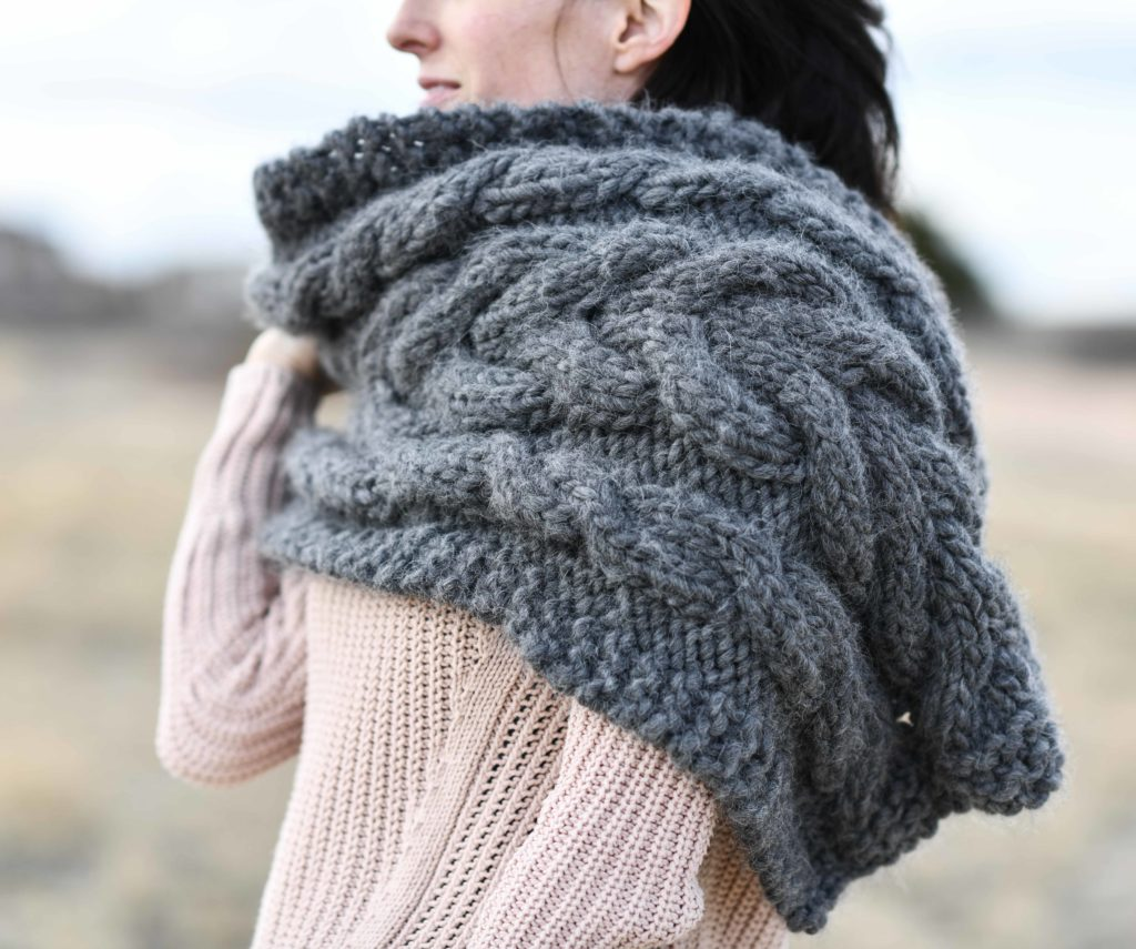 Easy Winding Cables Wrap Knitting Pattern – Mama In A Stitch - image Cable-Knit-Chunky-Wrap-4-1024x855 on https://knitting-crocheting-yarn.com