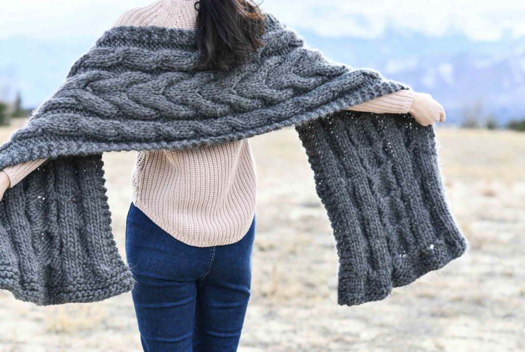 Easy Winding Cables Wrap Knitting Pattern – Mama In A Stitch - image Cable-Knit-Chunky-Wrap-6-1024x687 on https://knitting-crocheting-yarn.com