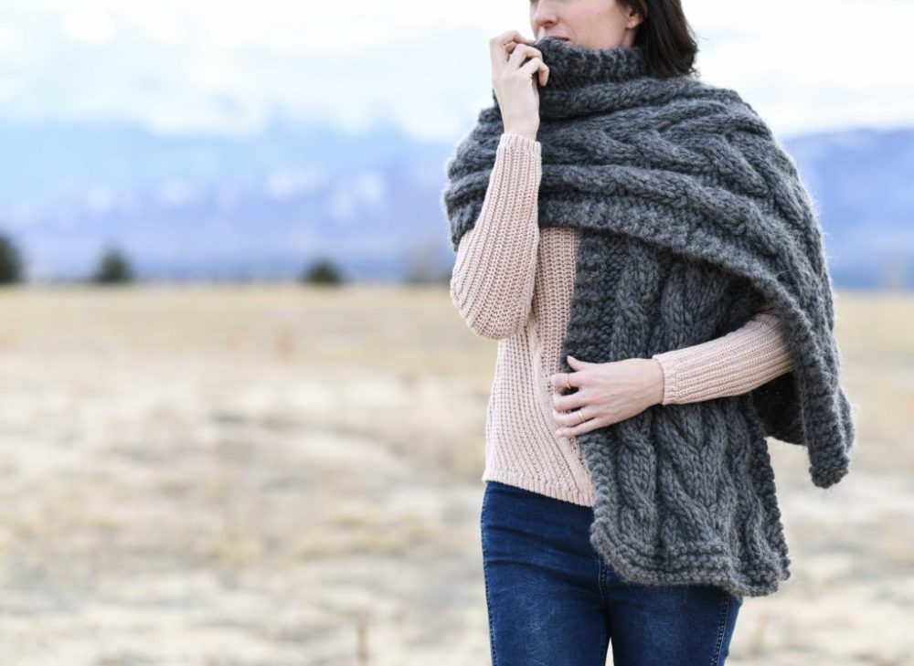 Easy Winding Cables Wrap Knitting Pattern – Mama In A Stitch - image Cable-Knit-Chunky-Wrap-7-1024x746 on https://knitting-crocheting-yarn.com