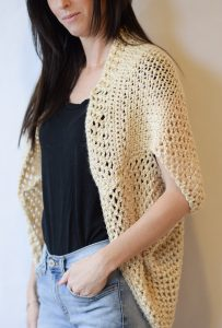 How To Crochet An Easy Summer Shrug – Mama In A Stitch - image Easy-Crochet-Sweater-Pattern-Shrug-Mod-Blanket-Sweater-203x300 on https://knitting-crocheting-yarn.com