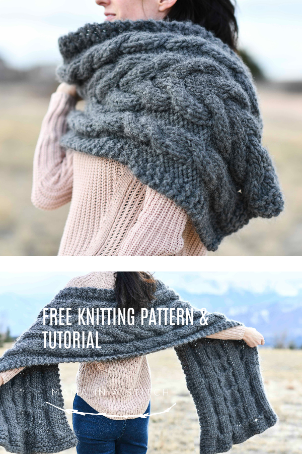 Easy Winding Cables Wrap Knitting Pattern – Mama In A Stitch - image Free-Knit-Cable-Shawl-Pattern on https://knitting-crocheting-yarn.com