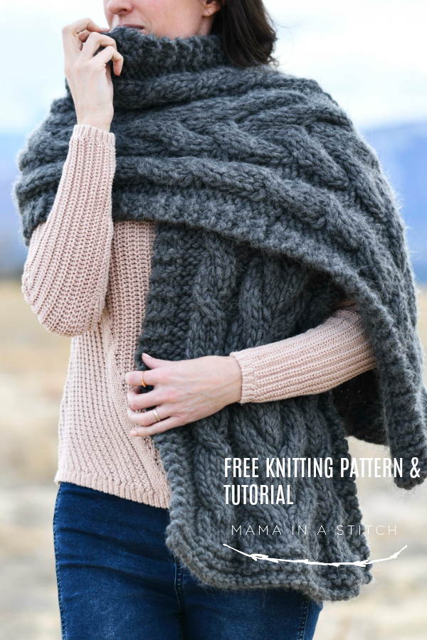 Easy Winding Cables Wrap Knitting Pattern – Mama In A Stitch - image Free-Pattern-Chunky-Knit-Cable-Shawl-Wrap-Knitting-Pattern on https://knitting-crocheting-yarn.com
