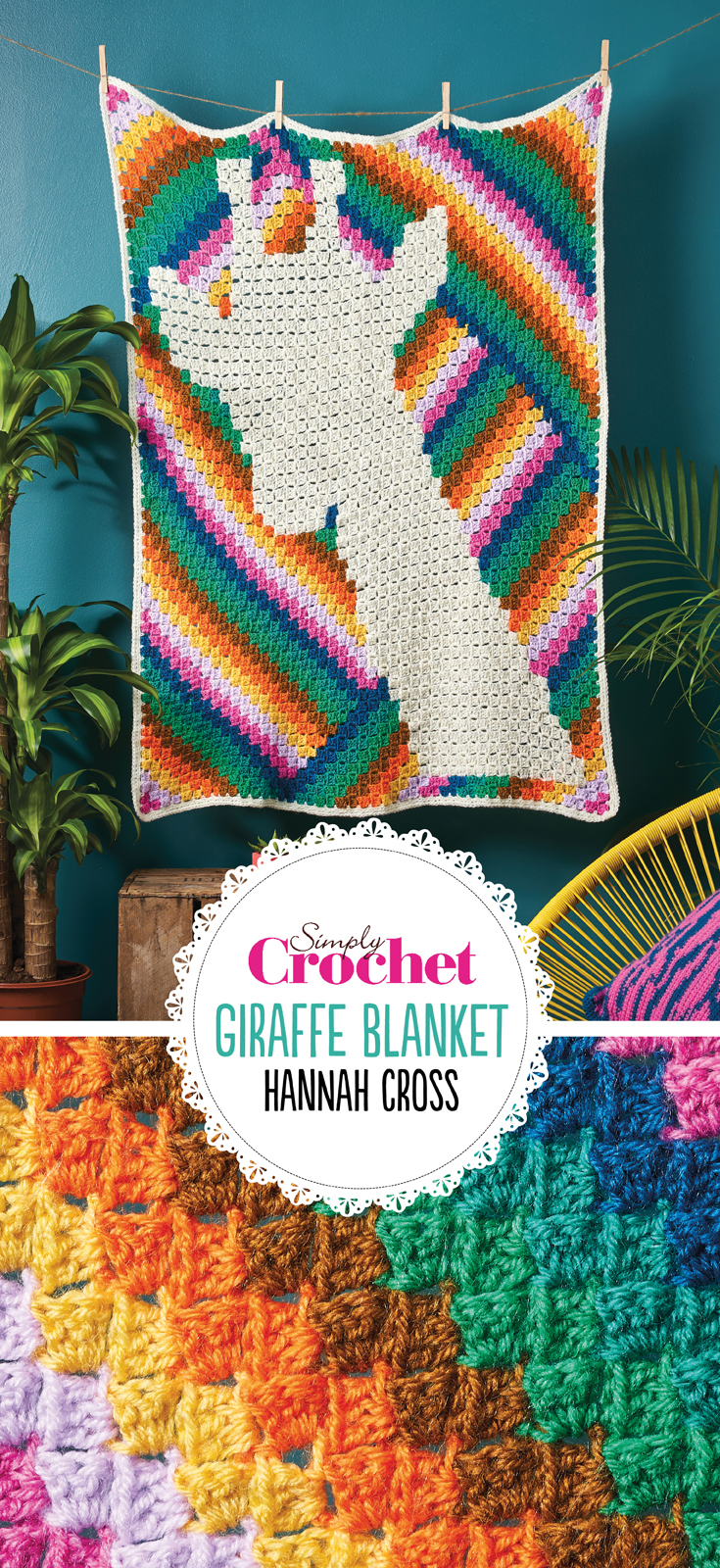 Who's hiding in this blanket? At first glance, the motif blends into the dynamic canvas of colour, before a second look reveals the pixellated giraffe hiding within the multicoloured swatches. Using the corner to corner technique, the blanket uses diagonals of colour to create a design that mixes motif and pattern perfectly.