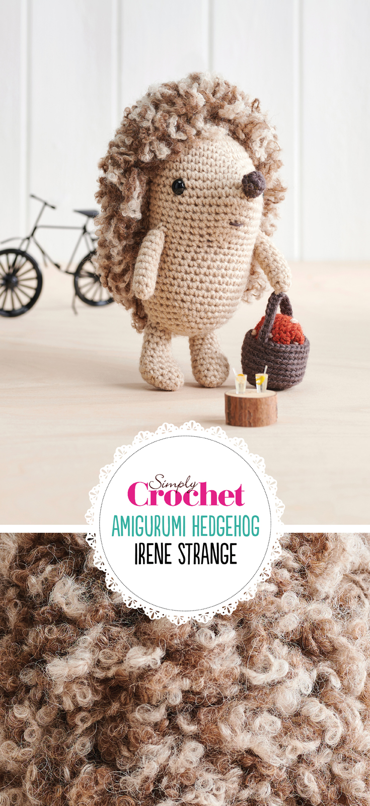 Complete with his own basket and blanket, Irene Strange's prickly picnicker is a fun project for advanced hooksters. Bring Hester Hedgehog out of hibernation with light beige and brown yarn and a whole lot of loop stitch to make his trademark spikes.
