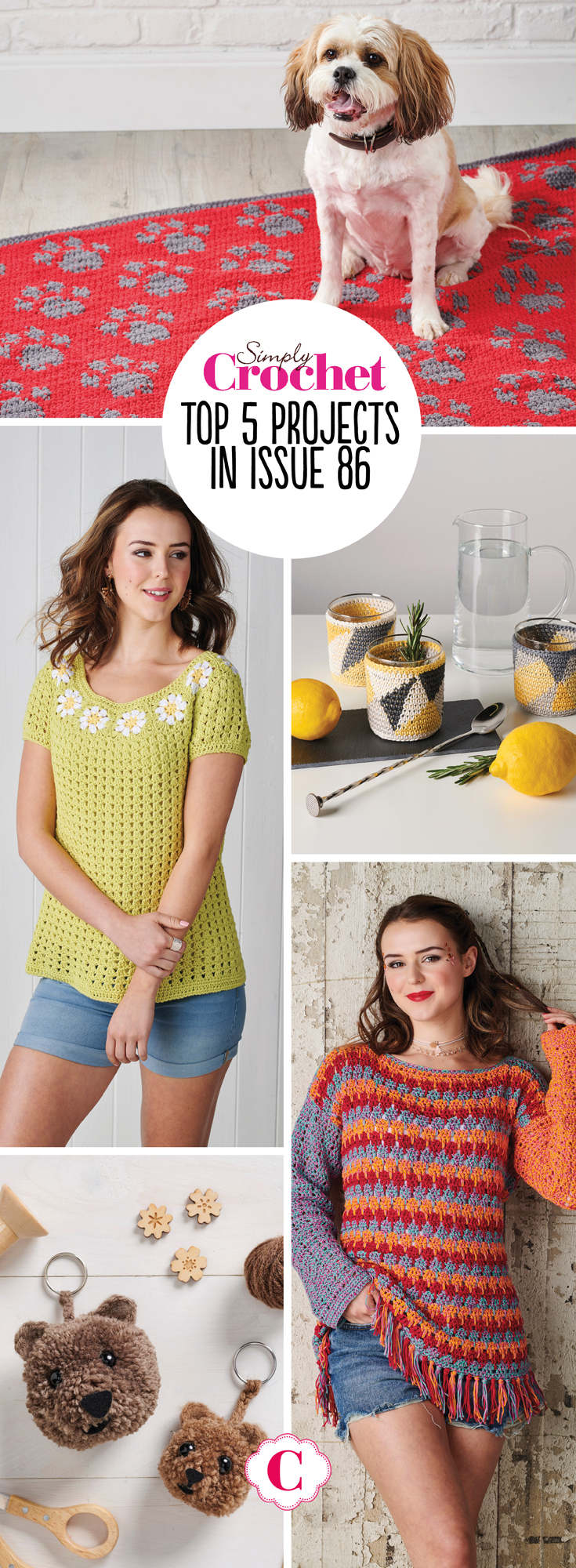 Are you a sun soaker or a shade seeker? Whatever your holiday preference, in Simply Crochet issue 86 we're uniting the two camps with our sun and shade collection, a set of cool geometric homewares picked out in warm tones. There's also plenty of summer projects for you to hook up too, from our beautiful cover star daisy top, to our fun and fabulous festival jumper! And if you're an animal lover, well you're in luck - there's the most amazing pet blanket (modelled by own lovely pooch Mabel), bear pompoms (yes you read that correctly - you will be amazed), and if it's fantasy animals you'er after, then you'll love this issues hook to hook challenge!