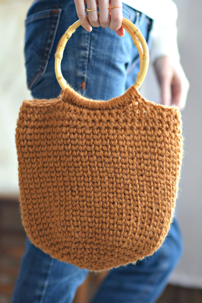 How To Crochet A Summer Circle Bag - image Camel-Crocheted-Bucket-Bag-Purse-Pattern-683x1024 on https://knitting-crocheting-yarn.com