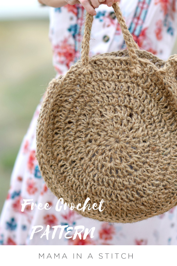 How To Crochet A Summer Circle Bag - image Free-Crochet-Pattern-Circle-Jute-Bag-3-683x1024 on https://knitting-crocheting-yarn.com
