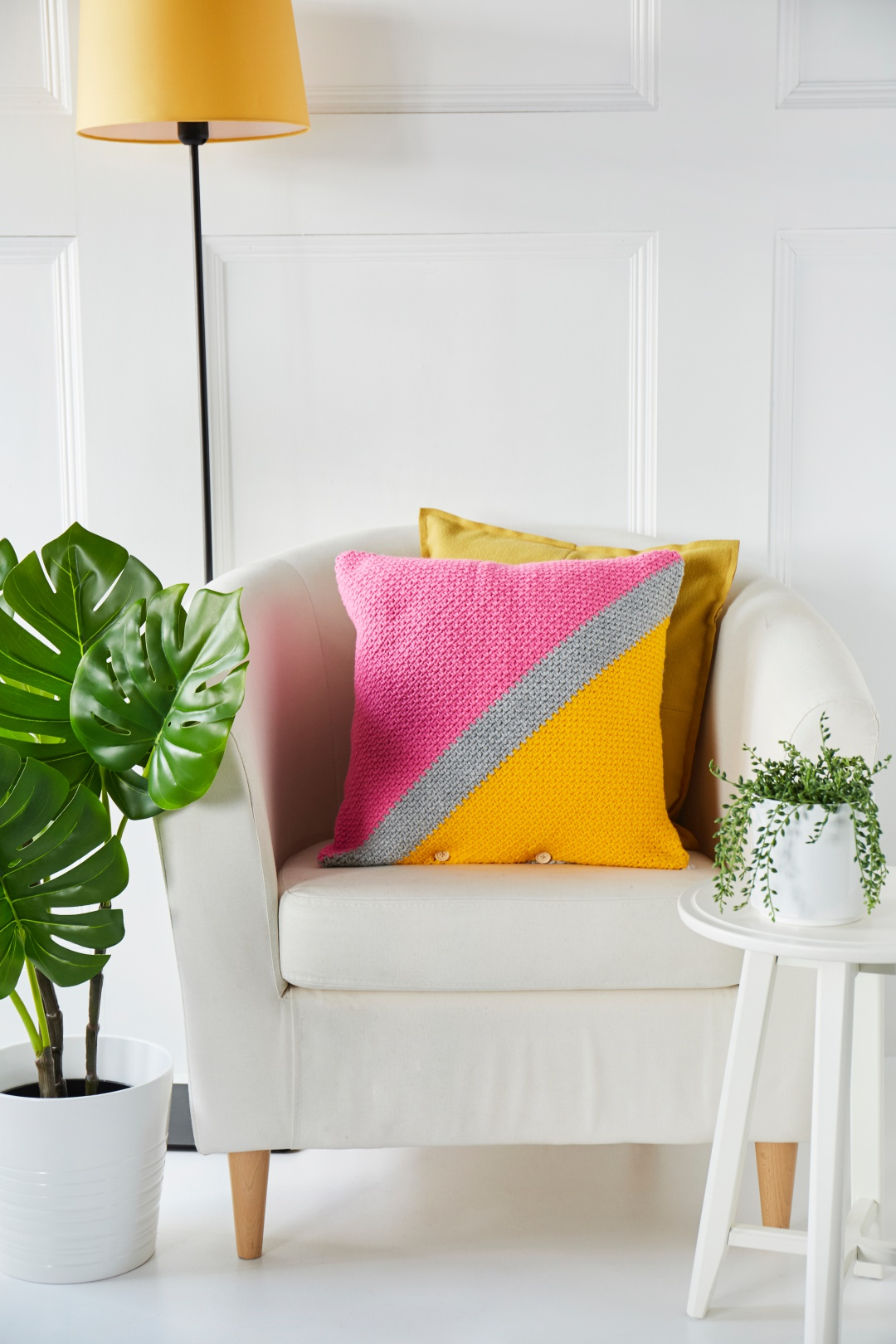 Take a look inside our new look issue! - image Emma-Wilkinson-COlour-Block-Cushion-Patons-Fab-DK-1 on https://knitting-crocheting-yarn.com