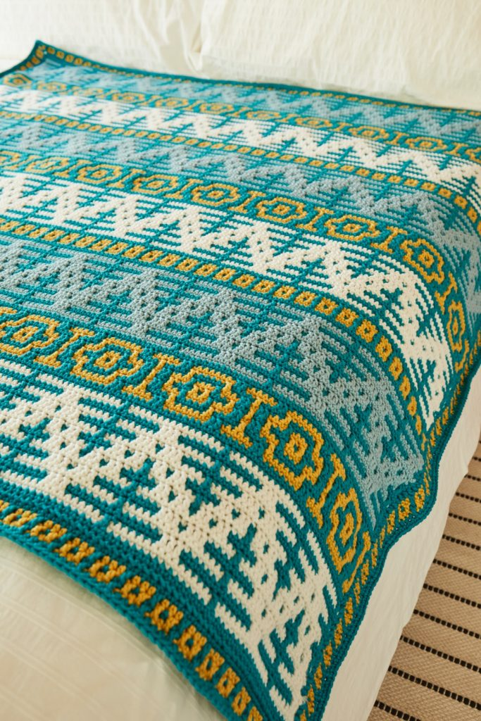 Top Tips and How-To for Mosaic Crochet - image Rosina-Plane-Norway-Spruce-Blanket-Sirdar-No-1-3-683x1024 on https://knitting-crocheting-yarn.com