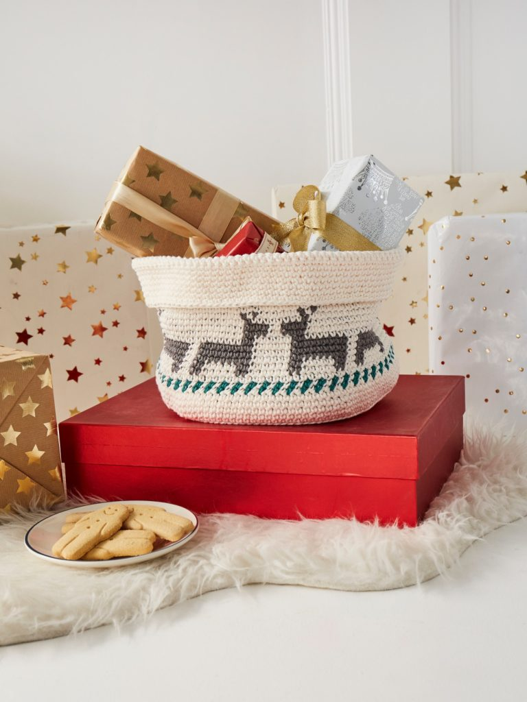 Crochet Now Magazine- new issue 48 on sale this week - image Alison-Holloway-Rambling-Reindeer-Basket-Lily-Sugar-n-Cream-768x1024 on https://knitting-crocheting-yarn.com
