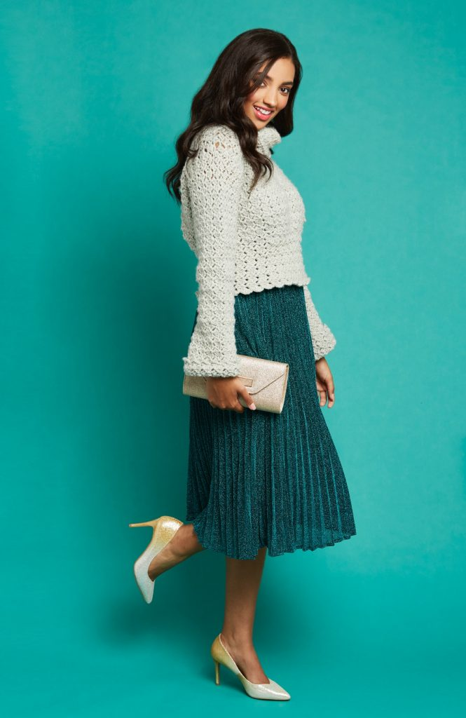 Crochet Now Magazine- new issue 48 on sale this week - image Lindy-Zubairy-Silver-Screen-Sweater-Scheepjes-Stonewashed-XL-3-665x1024 on https://knitting-crocheting-yarn.com